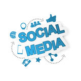 Social media background with network icons. Royalty Free Stock Photos