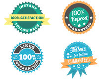 Social media badges set. One hundred percent follow back guaranteed Stock Photography