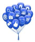 Social media balloon. 3d render Stock Photos