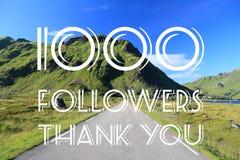 Social media banner. 1000 followers - social media milestone banner. Online community thank you note. 1000 likes stock illustration