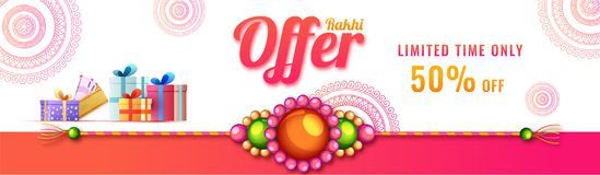 Social media banner or header design with 50% discount off offer. Rakhi made by pearls and gift boxes for Raksha Bandhan celebration concept Royalty Free Stock Image