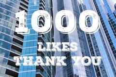 Social media banner. 1000 likes - thank you banner. Social media milestone sign royalty free illustration