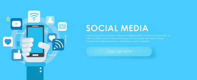 Social media banner. Phone with icons Royalty Free Stock Images
