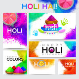 Social Media banner set for Holi Festival celebration. Royalty Free Stock Images