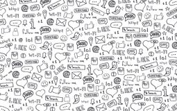 Social Media banners with hand draw doodle background. Vector illustration. stock illustration