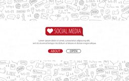Social Media banners with hand draw doodle background. Vector illustration. vector illustration