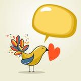 Social media bird with speech love Stock Photography