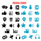 Social media black and blue flat icons set Royalty Free Stock Image