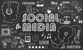 Social Media on Blackboard Stock Image