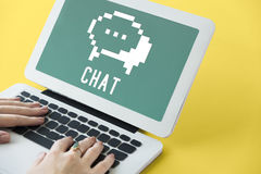 Social Media-Blog-Chat-Ikonen-Konzept Lizenzfreie Stockfotos
