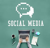 Social Media-Blog-Chat-Ikonen-Konzept Stockfotos