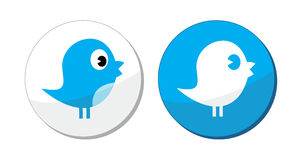 Social media blue bird  labels. Modern blue bird labels isolated on white Stock Images