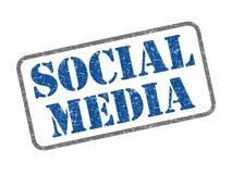 Social media. Blue color social media rubber stamp Stock Photo