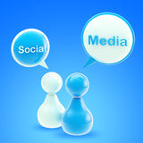 Social media blue glossy emblem Royalty Free Stock Photography
