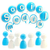 Social media blue glossy emblem isolated. Social media blue glossy emblem made of text bubbles and symbolic human figures isolated on white vector illustration