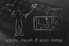 Social media & body image: expectations vs realityy Stock Photos