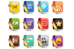 Social Media of Book Icon Set Stock Images
