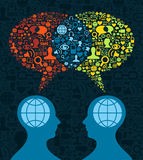 Social media brain communication. Two human figures face to face in conceptual social media communication on icon set blue background. Vector file available Royalty Free Stock Image