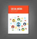 Social Media Brochure. Brochure or flyer template with social media topics. Illustrates connection between people, communication or work organization Royalty Free Stock Photo