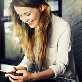 Social Media Browsing Pretty Girl Youth Culture Concept.  Stock Photography