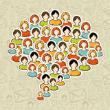 Social media bubble people crowd stock illustration