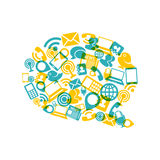 Social media bubble shape with communication icons Royalty Free Stock Photos