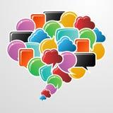 Social media bubbles in communication speech Royalty Free Stock Image