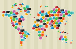 Social media bubbles globe world map. Social speech bubbles in different colors and forms in globe world map illustration. Vector file available Stock Photos
