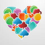 Social media bubbles love heart Royalty Free Stock Photos