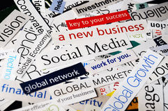 Social media business. Collage of paper headlines about the global   economy and social media business Stock Photography