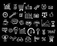 Social media business doodles, items on black background. Hand drawn design elements. Vector illustration Royalty Free Stock Images