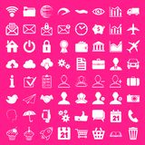 Social Media, Business and Finance Web Icons Pink Set. Vector Stock Photo