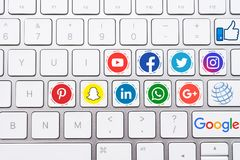 Social Media Button Icons with White Keyboard stock photography