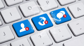 Social media button on keyboard Royalty Free Stock Photo
