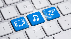 Social media button on keyboard Stock Photography