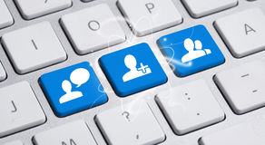 Social media button on keyboard. Social media button on a keyboard Stock Image