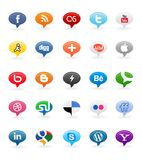 Social Media Buttons 1. Collection of 25 most popular social media and network buttons, isolated on white background Royalty Free Stock Photo