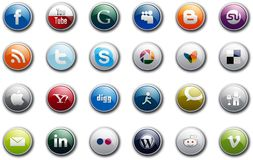 Social Media Buttons. Collection of  popular social media and network buttons, isolated on white background. Eps vector file available Royalty Free Stock Image