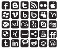 Social media buttons. Social media handwriting black doodles Royalty Free Stock Photo
