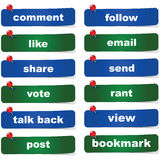 Social media buttons. Collection of green and blue social media buttons with different calls to action Stock Image