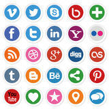Social Media Buttons. Collection of most popular social media and network buttons icons Stock Image