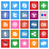 Social Media Buttons. Collection of most popular social media and network buttons icons Stock Photos
