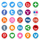 Social Media Buttons. Collection of most popular social media and network buttons icons Royalty Free Stock Photo