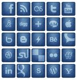Social Media Buttons 1. Collection of 25 most popular social media and network buttons / icons , on blue denim texture background. vector file can upload on Royalty Free Stock Image
