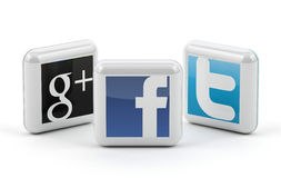 Social media. Buttons - Facebook, twitter and Google Stock Photography
