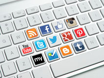 Social media buttons on keyboard Stock Photo