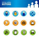 Social media buttons. Over white background vector illustration Royalty Free Illustration