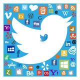 Twitter bird among social media icons royalty free stock photo