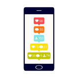 Social media buttons on the phone. Like, comment and follower icons set. Social media buttons on smartphone display. Notification symbols.  vector illustration Royalty Free Stock Photo