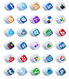 Social media buttons set. Set of social media buttons in the form of mettalic cubes Vector Illustration